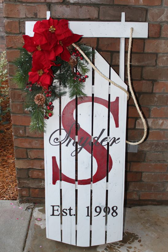 Awesome diy christmas decorations made from pallets hative winter sign sled made from pallets solutioingenieria Choice Image