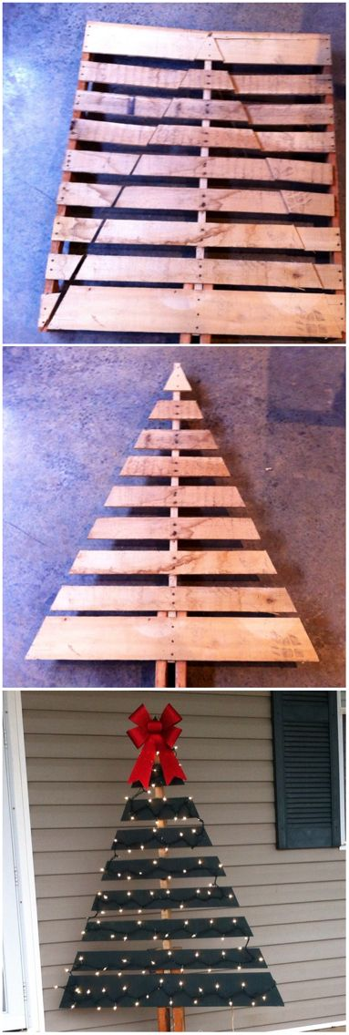 Wood Pallet Christmas Tree.Awesome Diy Christmas Decorations Made From Pallets Hative