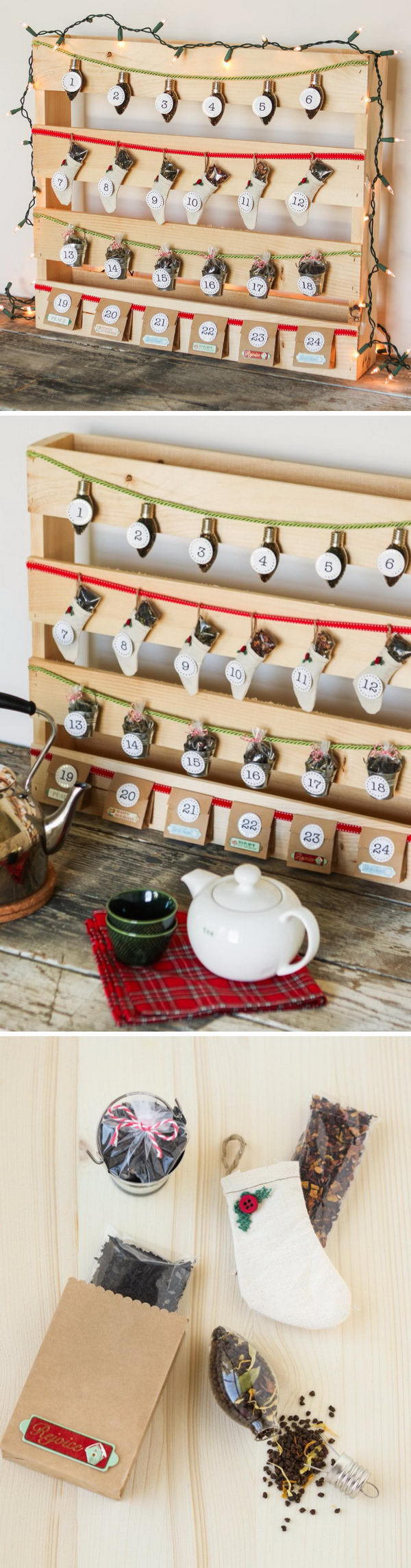 DIY Pallet Tea Time Advent Calendar.