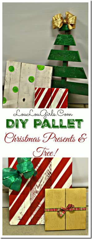DIY Pallet Christmas Tree and Presents.