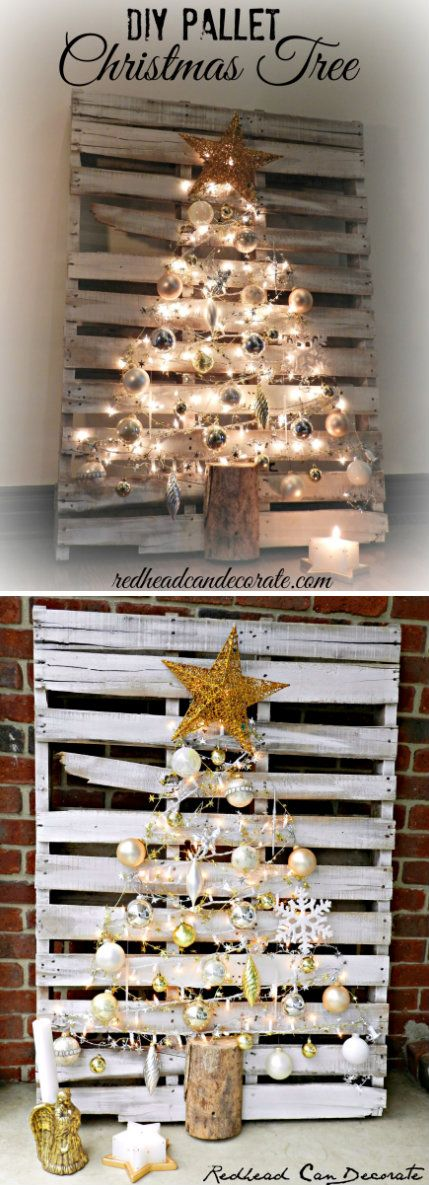 lighted pallet christmas tree for under 10 - Pallet Christmas Decoration Ideas