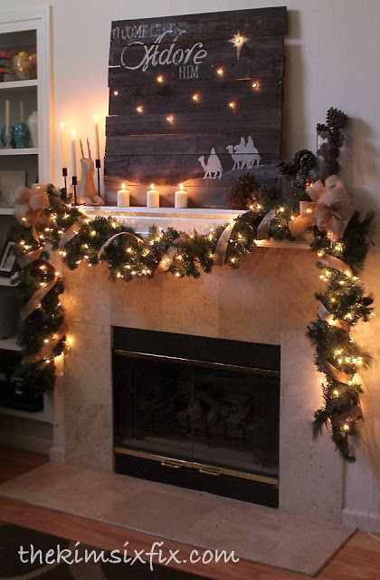 DIY Rustic Pallet Christmas Mantel Decoration.