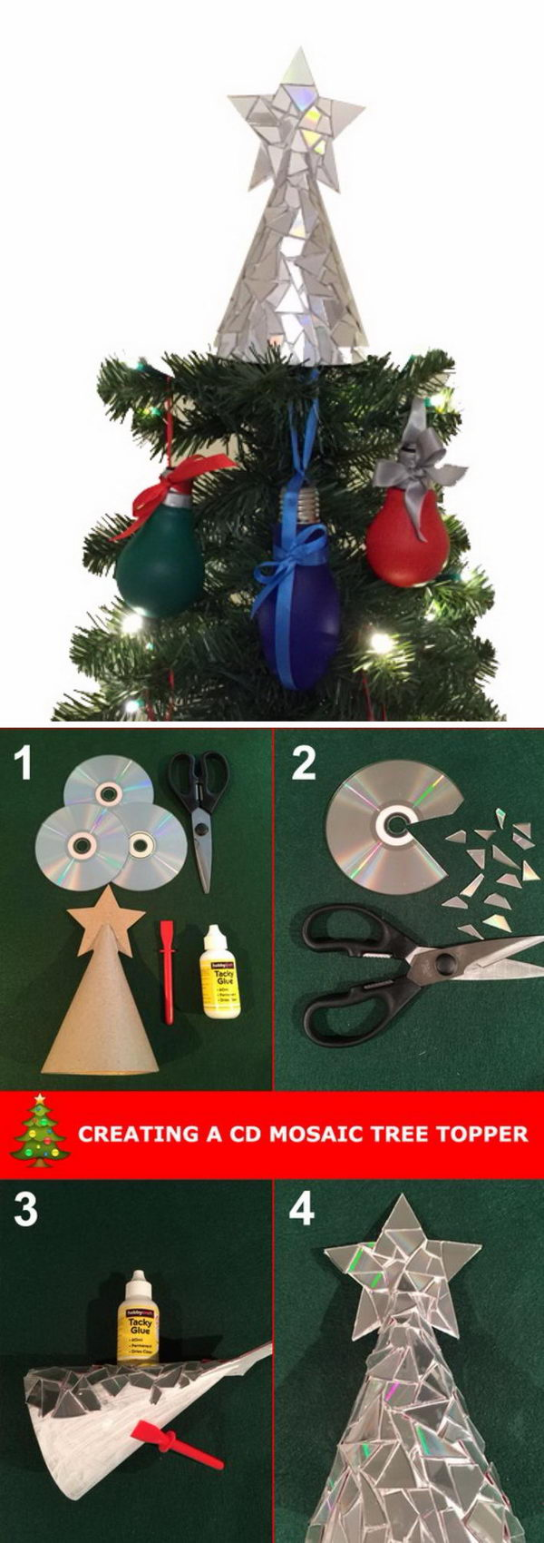 sparkly cd mosaic christmas tree topper - How To Make A Christmas Tree Topper