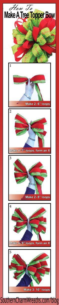 DIY Christmas Tree Topper Bow.