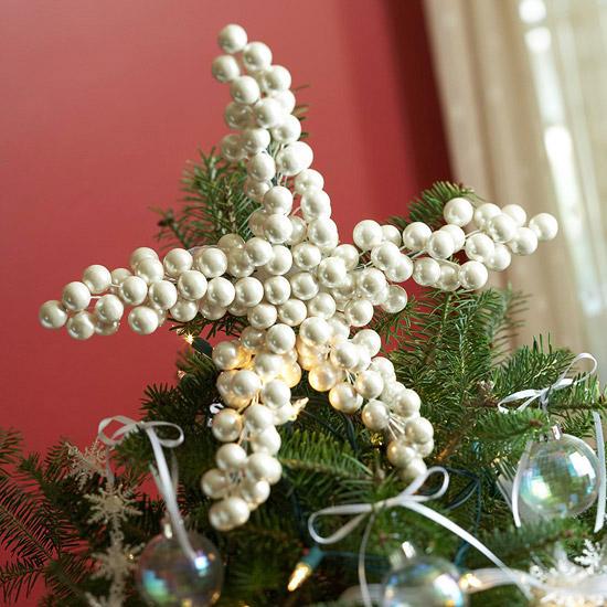 DIY Pearl Star Christmas Tree Topper.