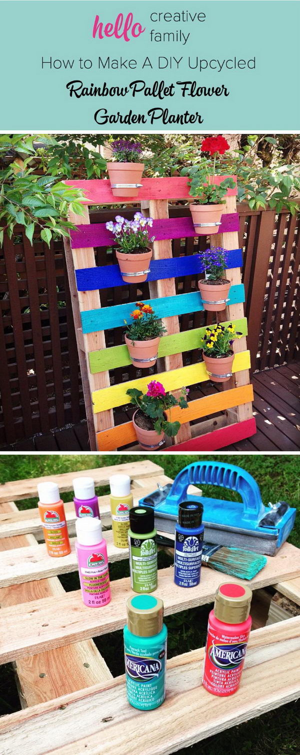 diy rainbow pallet planter