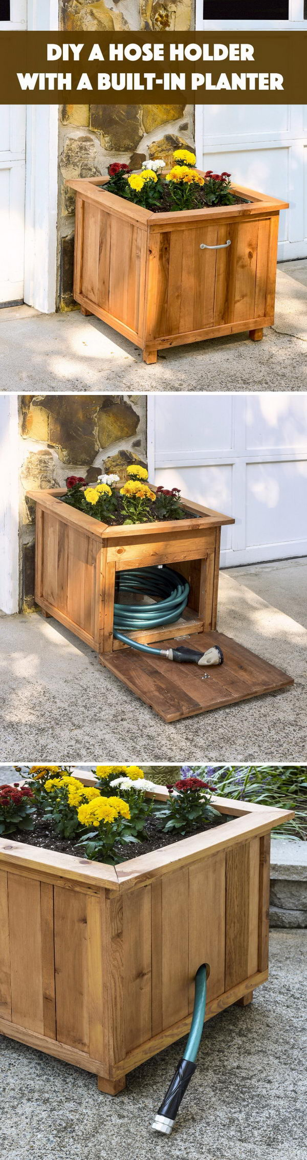diy pallet wood hose holder with planter - Garden Ideas Using Wooden Pallets