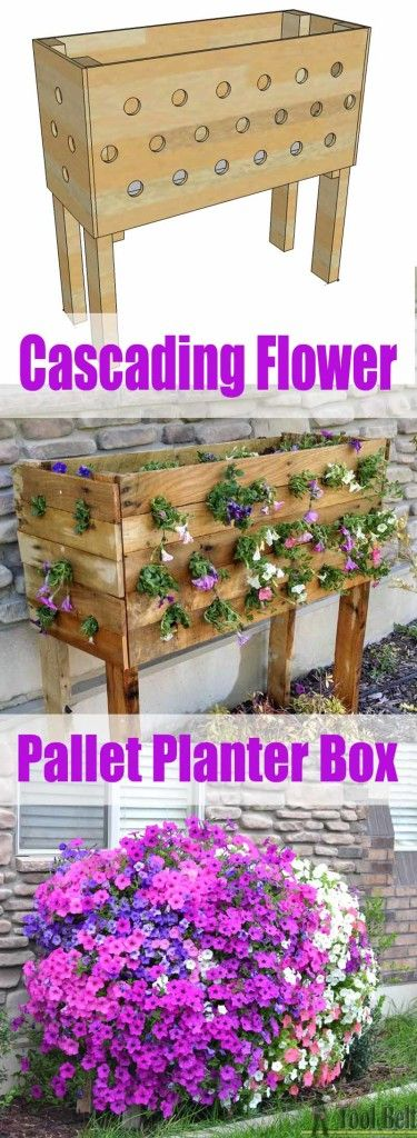 cascading flower pallet planter box