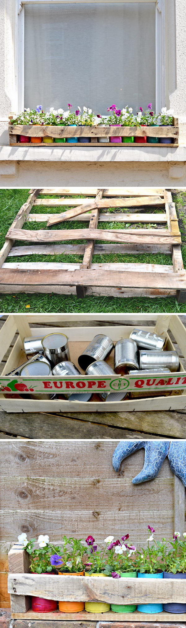 pallet holder with colourful tin can planters - Garden Ideas Using Pallets