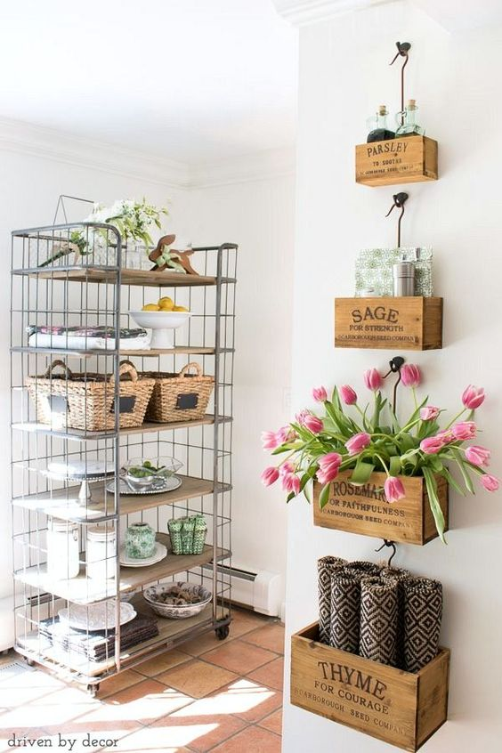 Wall Mounted Nesting Herb Crates.