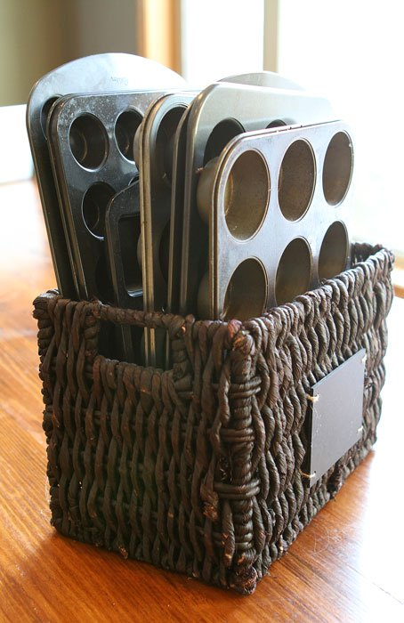 Magazine Basket for Cupcake Pans.