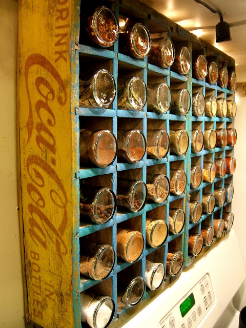 DIY Spice Rack Made From Old Coke Bottle Boxes.