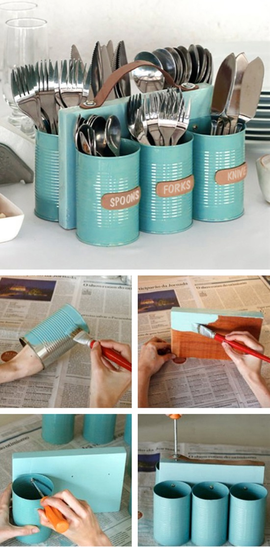 Cutlery Holder Made From Recycled Cans.