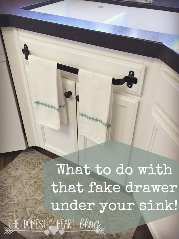 Fake Drawer Towel Bar.