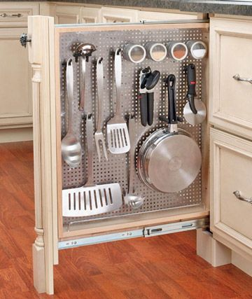 Pull Out Hanging Utensil Drawer.