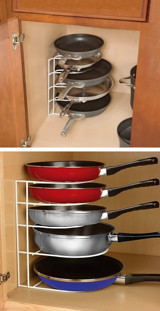 Delightful Kitchen Organizer Rack Part - 7: Pan Organizer Rack