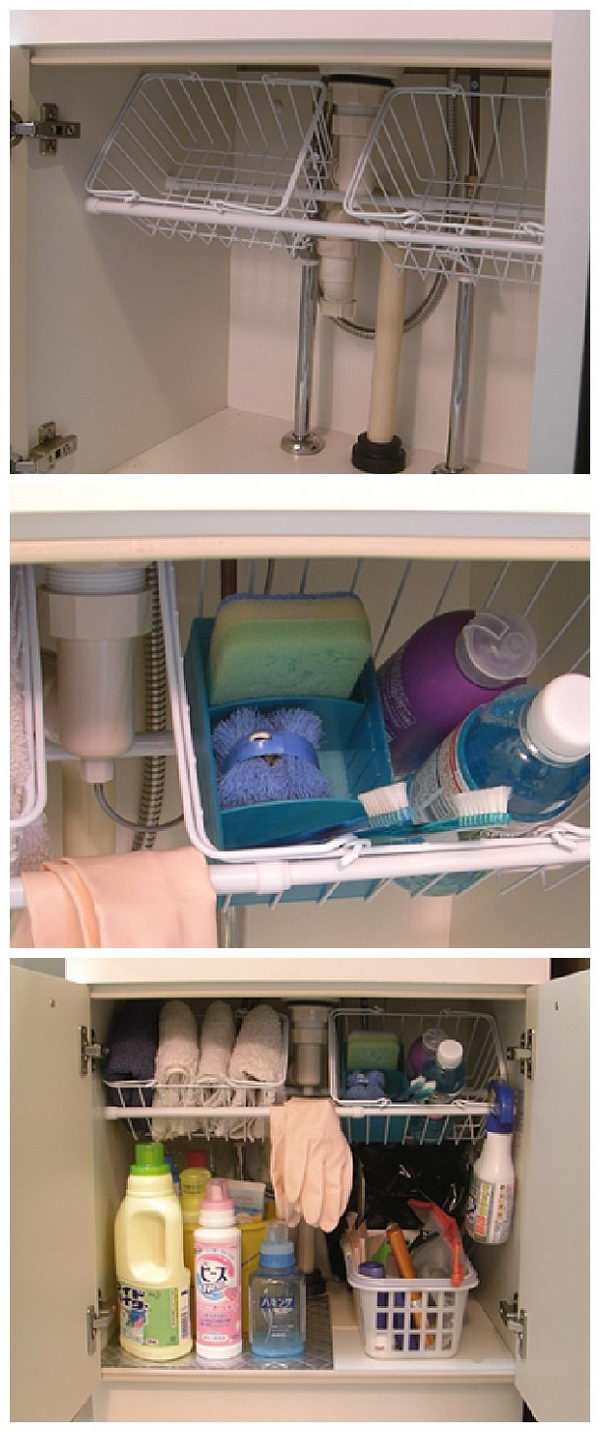 Use Small Tension Rods to Hold Wire Baskets Under Sink.