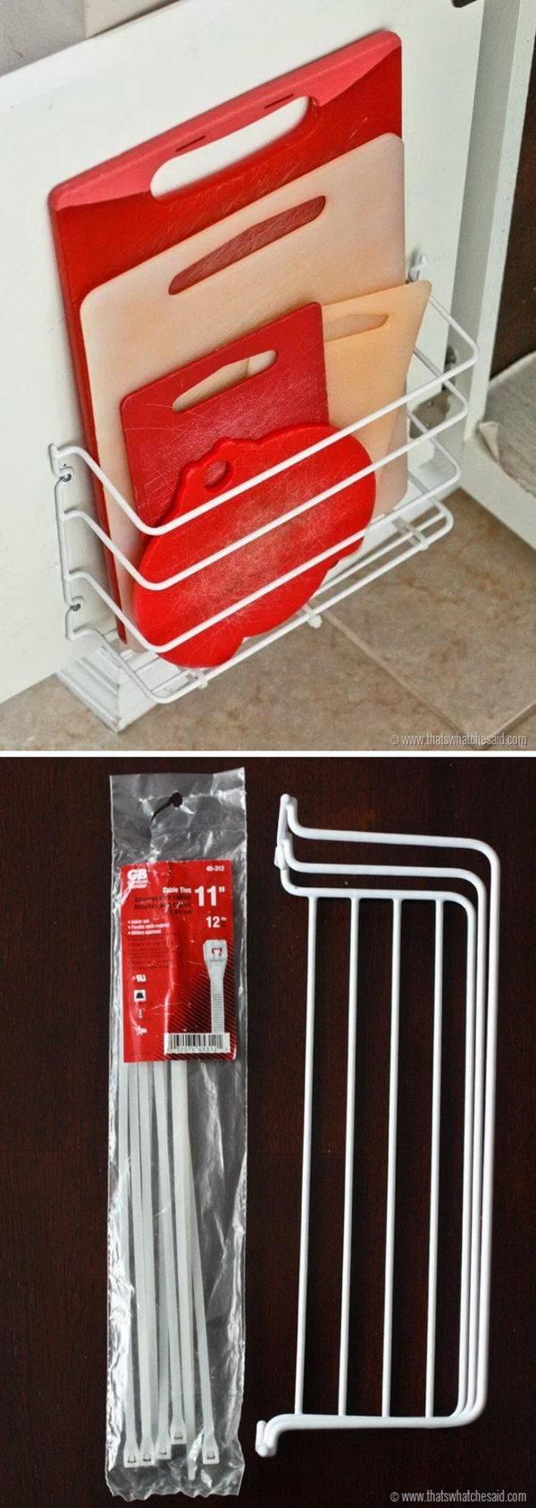 Kitchen Cabinet Door Cutting Boards Holder Organizer.
