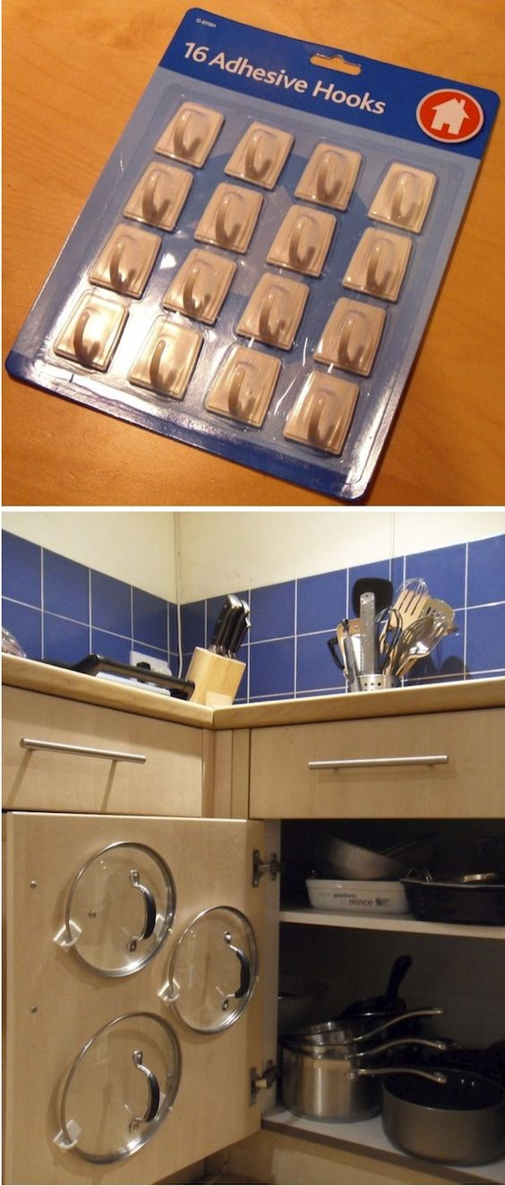 20 creative kitchen organization and diy storage ideas hative adhesive hooks pot lid organizer solutioingenieria Images