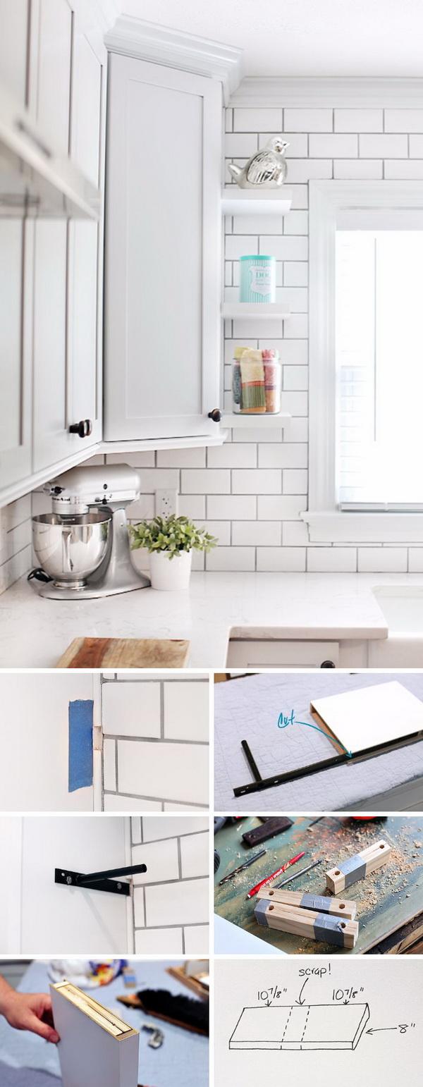 DIY Floating Shelves for Kitchen Cabinet.
