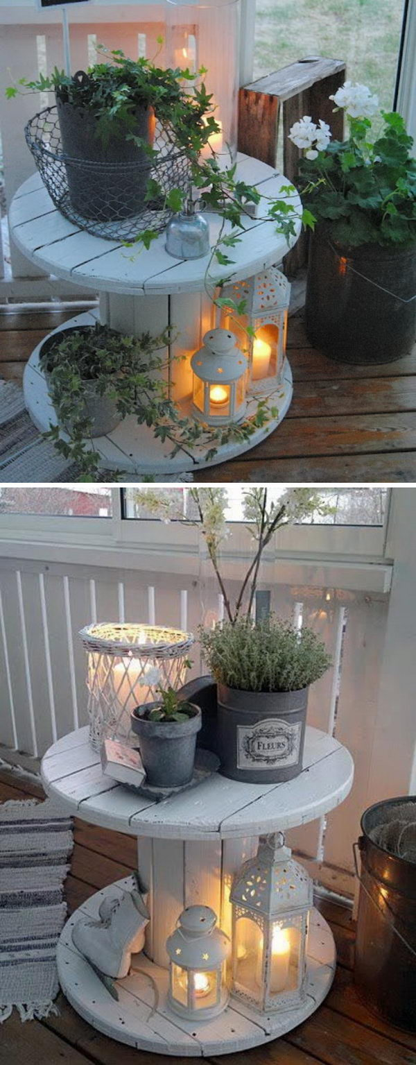 DIY Wire Spool Table Porch Lights.