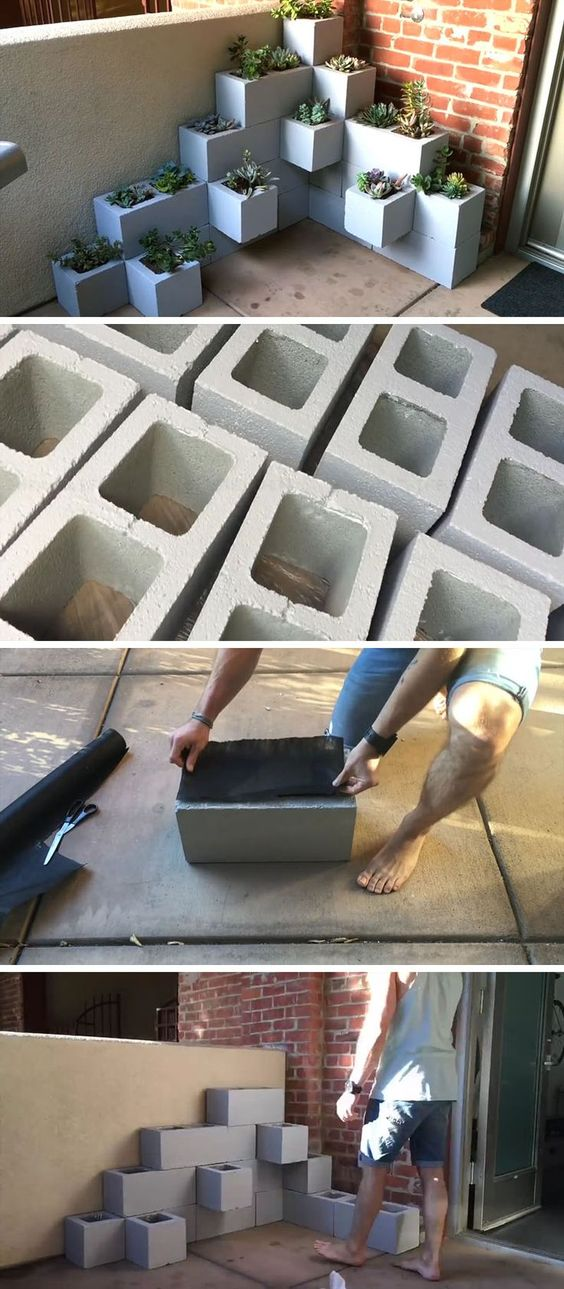 Inexpensive Outdoor DIY Succulent Planter Using Cinder Blocks.