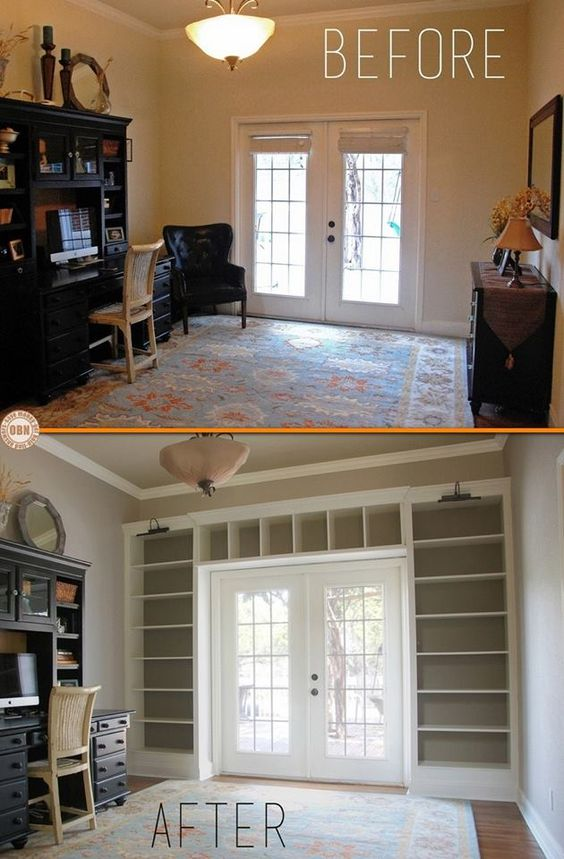 Add Built In Bookcases Around Th Door Using Ikea Shelves.