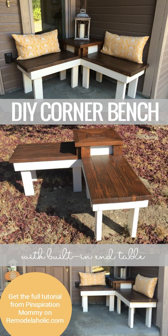 DIY Bench With Built in Table for Displaying Decor in The Corner of The Porch.