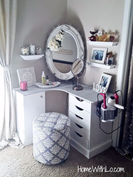 Build a makeup vanity to fit in the corner of your bedroom.