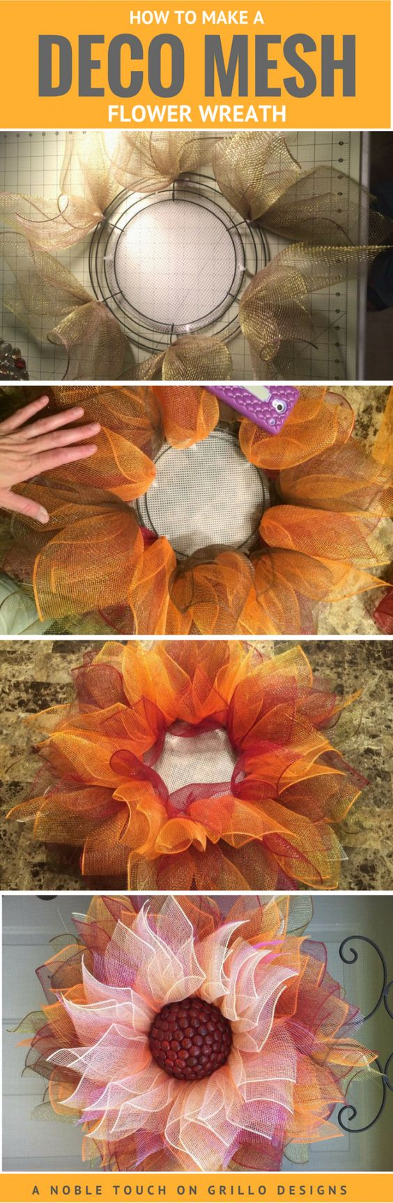 Easy DIY Flower Deco Mesh Wreath.