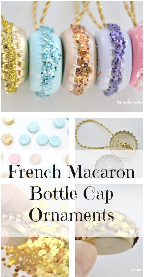 DIY French Macaron Ornaments Made Out Of Old Bottle Caps.