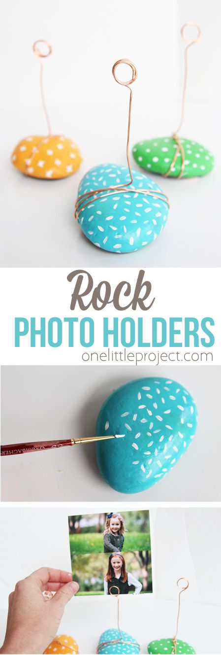 Painted Rock Photo Holders.
