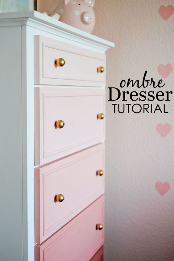 DIY Pink Ombre Painted Dresser.