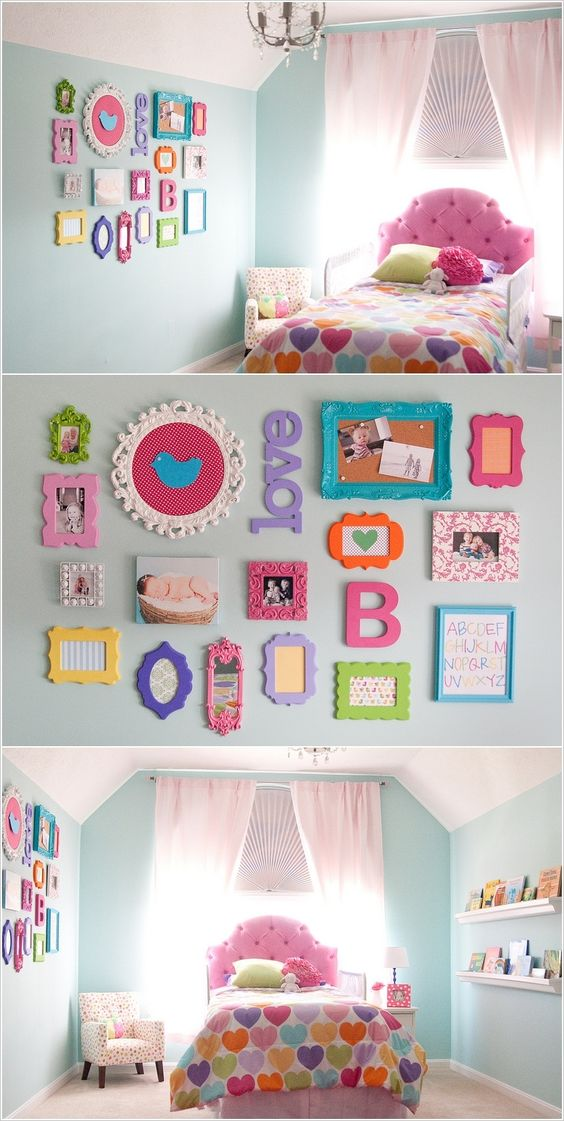 Multi colored picture frames & wall decor.