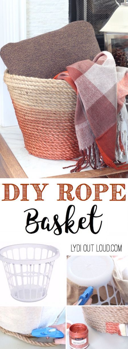DIY Rope Throw Basket Made Out Of A Dollar Store Laundry.