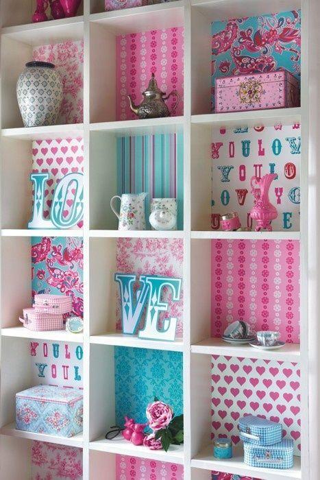 Wallpaper Backing On Bookshelf.