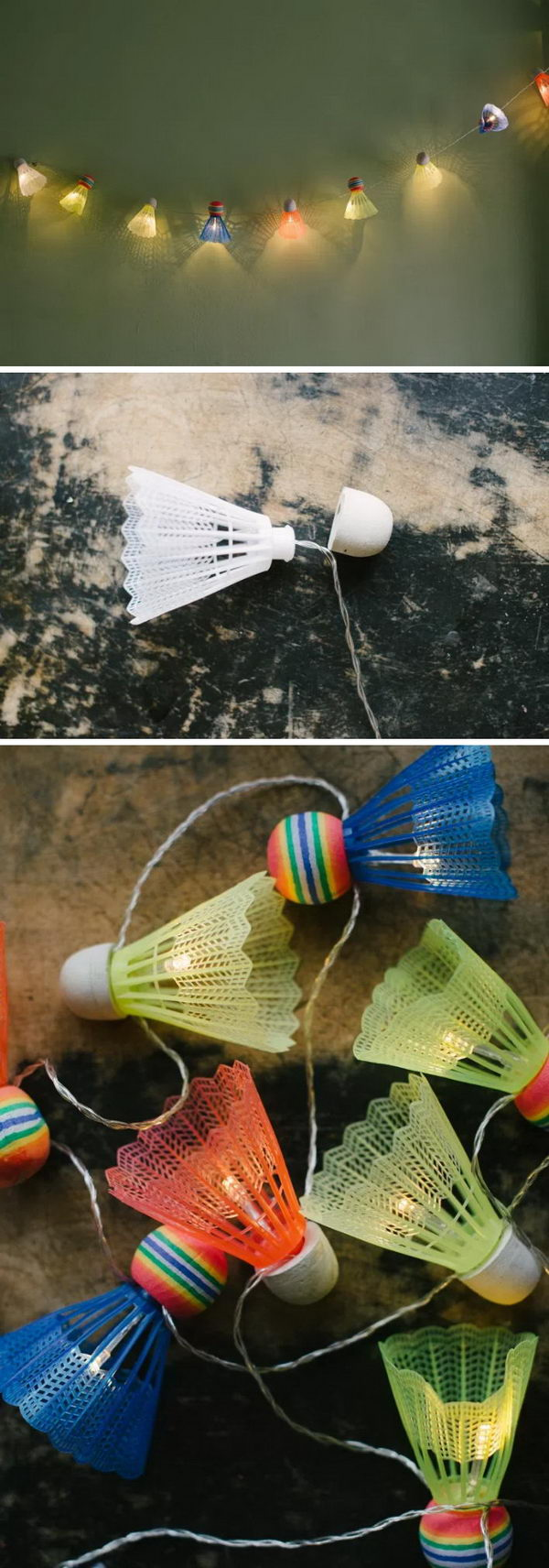 DIY Shuttlecock Lights Garland.