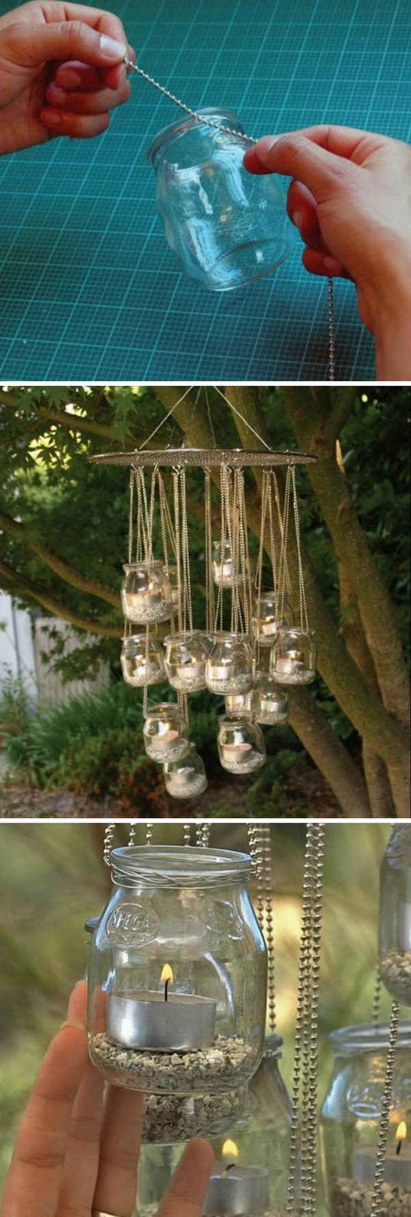 Outdoor DIY Tea Light Chandelier.
