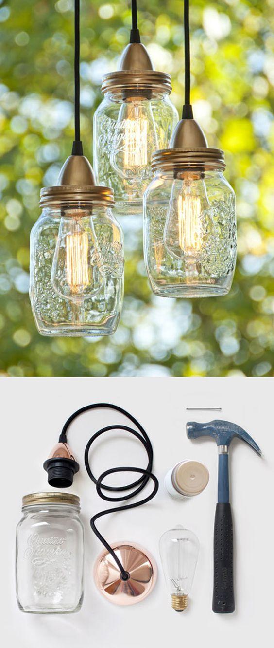 Easy DIY Mason Jar Lamp.
