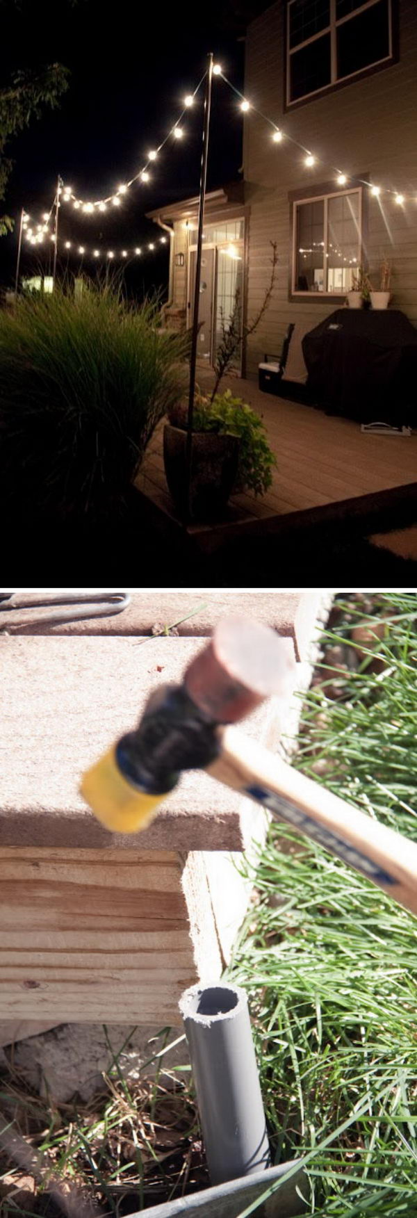 Easy And Cheap String Lights Around The Deck.