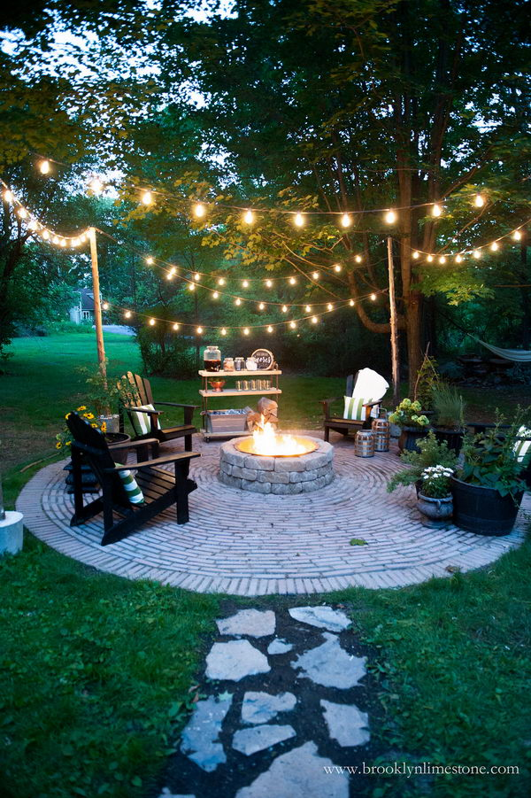 Great String Lights For A Country Cottage DIY Circular Firepit Patio