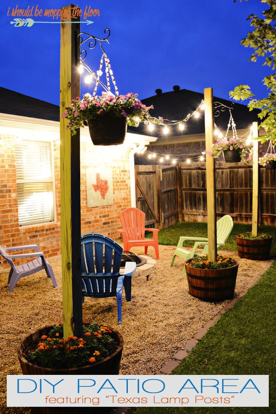 20 amazing outdoor lighting ideas for your backyard hative diy patio area with texas lamp posts mozeypictures Images