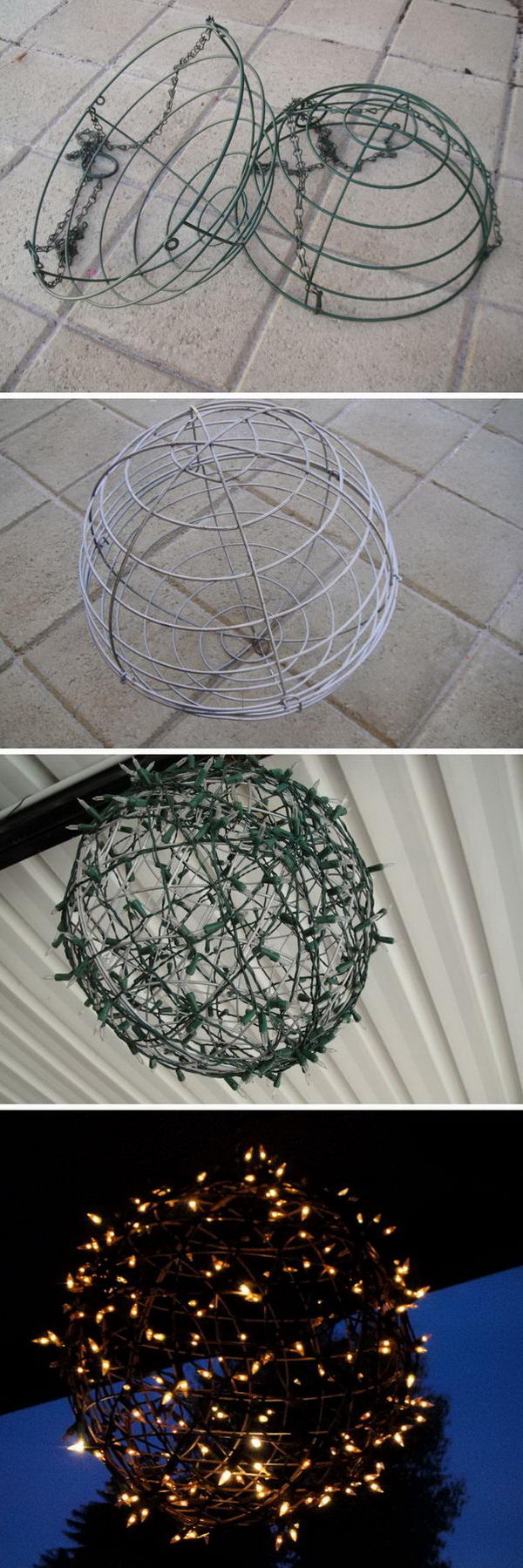 Fairy Light Globe Made Out Of Wire Baskets.