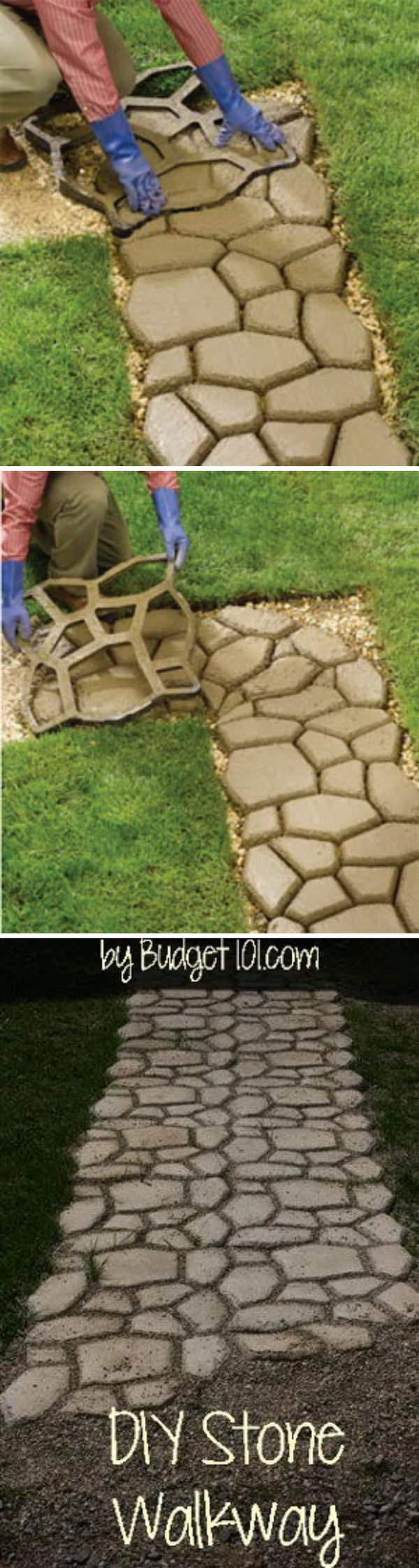 DIY Faux Stone Walkway With Concrete