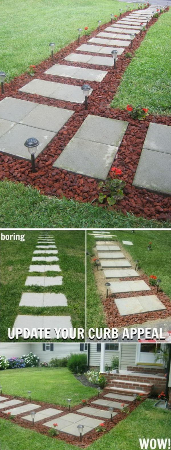 Diy Concrete Stepping Stone Squares Pathway With Lava Rocks