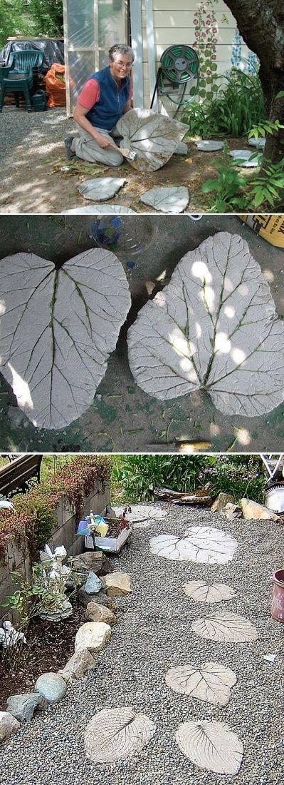 DIY Leaves Imprint Concrete Stepping Stone for Pathways.