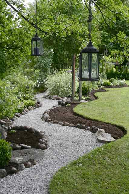 Gravel Pathway with Large River  Rock Edge.