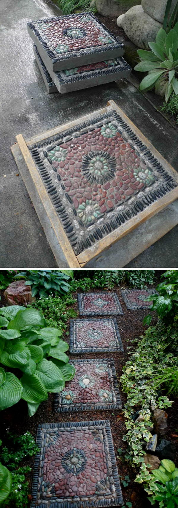DIY Pebble Mosaic Stepping Stones Pathway.