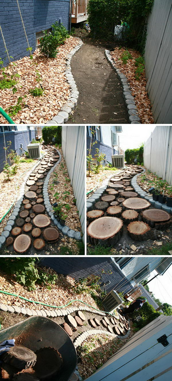 Recycled Wood Slice Garden Pathway