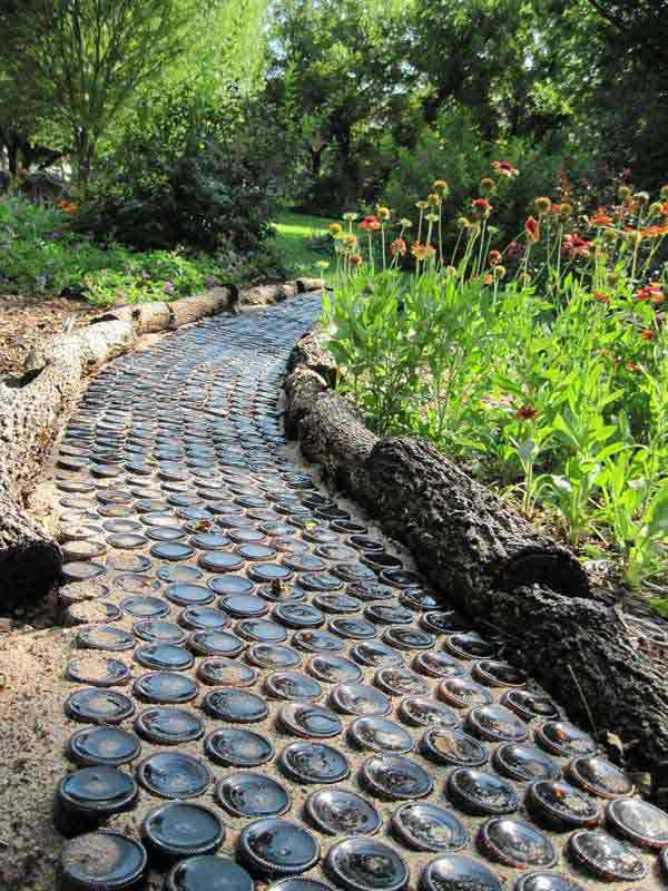 Garden Pathway Made from Wine Bottles.